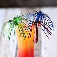 "Christmas Palm Tree Glitter Cocktail Sticks - Set of 24 - 9"" Drink Decorations"