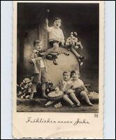 Gruss NEUJAHR 1938 Kinder mach Musik Grosse Trommel Musik-Instrumente alte AK