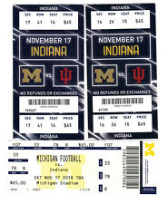 3 University Of Michigan Wolverines Football vs Indiana Unused Tickets 11/17/18