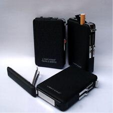 Aluminium Alloy Cigarette Tobacco Case with Refillable Butane Gas Lighter Black
