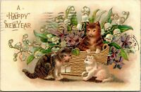 Vintage 1909 Basket of Flowers and Kittens Cats, Happy New Year Postcard