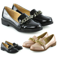 Womens Slip On Loafers Shoes Ladies Casual Chain Trim Work School Pumps Size 3-8