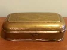 Antique Primitive Brass Dutch Engraved Snuff Smoking Tobacco Box c. 1700s
