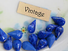 Vintage Lapis Lazuli Pear 10x6mm stones Matrix Blue Art rhinestones Glass (22F)