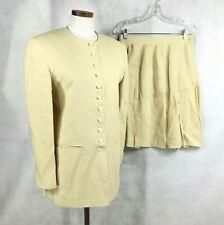 Jones New York Womens Pale Yellow 100% Linen Skirt Suit Sz 6 Jacket - 10 skirt