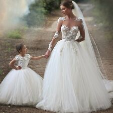 Sheer Long Sleeves Ball Gown Appliques Lace Tulle Wedding Dress. SIZES 2-28W.