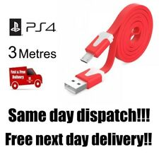 RED PlayStation 4 PS4 Controller Charging Cable 3 Metre 3m Long Lead USB   C104F