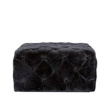 Tufted Upholstery Black Fabric Ottoman / Coffee Table