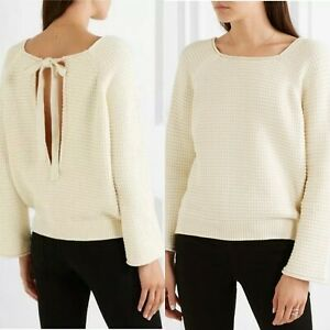 MIH Jeans Cream Waffle Knit Tie Open Back Jumper Cream Size Small
