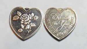 TWO  1/2 OZ .999 SILVER HEARTS ESPECIALLY FOR YOU WITH ROSE
