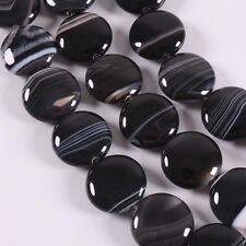 20mm Schwarz Münze Achat Bandachat Perlen f. Halskette Armband Armkette DIY
