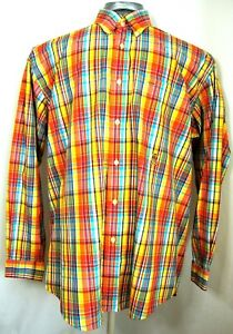 TOMMY HILFIGER Mens Large Yellow Orange Plaid long sleeve button down shirt A1