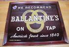 BALLANTINE'S ON TAP Old Reverse Glass Bevel Tin Wood Frame Bar Pub Tavern