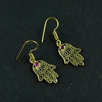 Ruby Gemstone Statement Hamsa Fashion Design Hanging Drop Dangle Earring Jewelry