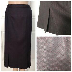 Ralph Lauren Purple Label Collection Wool Midi Printed Skirt Pleats 6 EUC