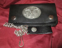 Biker's Trucker's Black Leather Wallet Key Chain Belt Clip Long Horn FloralMetal
