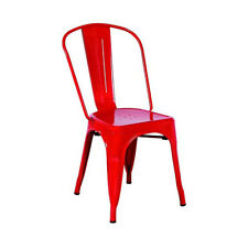 NEW! SET OF 4 STEEL STACKABLE DINING CHAIR-RETRO TOLIX-STYLE SEAT -CASSANDRA RED