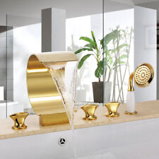 Deck Mounted Waterfall Spout Bathroom Bathtub Faucet Tap Widespread PVD-Ti Gold
