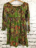 Land's End Kids Green Floral Peasant Dress Long Sleeve Lightweight EUC Size 10