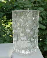 VINTAGE LAHORE CRYSTAL VASE TAPIO WIRKKALA STYLE ART GLASS VASE SIGNED