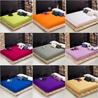Solid Bed Sheet Fitted Sheet Pocket Bedding Polyester Cotton Choose Color & Size