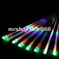 Colorful 240 LED Lights Meteor Shower Rain Fall 8Tube Xmas Tree Icicle Light