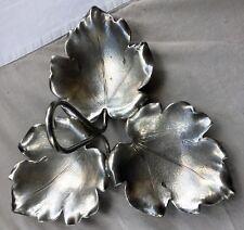 Jolie coupe 3 feuilles Metal Argenté - Silver coated triple dish Leaves