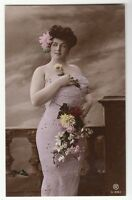 [57519] Circa EARLY 1900s FRENCH RISQUE POSTCARD FULL-FIGURED WOMAN WITH FLOWERS