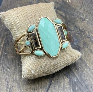 Barse Deco Cuff Bracelet- Smoky Quartz & Varacite-Bronze- NWT