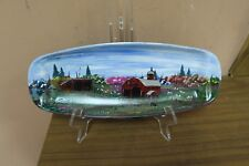 """Singed Hand Painted Metal Tray Vermont Dairy Barn Painting Pam Downey ? 5.5""""x14"""""""