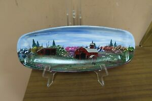 "Singed Hand Painted Metal Tray Vermont Dairy Barn Painting Pam Downey ? 5.5""x14"""