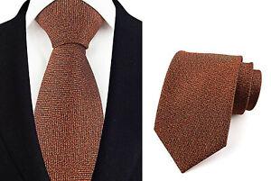 Tie Orange Brown Handmade 100% Silk Wedding 8cm Width Necktie