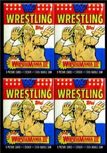 1987 Topps Wrestling - 4 Wax Packs MINT- Wrestlemania III - WWF - Hogan, Ventura