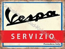 Vintage Garage Vespa Scooter Service Mods 2 Wheels Italian Small Metal/Tin Sign
