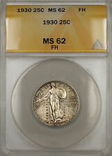 1930 Silver Standing Liberty Quarter 25C ANACS MS-62 Full Head (Light Toning 11)