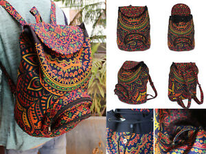 Unisex Backpack Hippie Fashion Backpack Cotton Mandala Unisex School Bags Throw