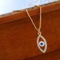 PD: 1 Vergoldet Halskette Halsschmuck Strass Evil Eye Böse Auge Anhang 46.8cm