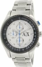 BRAND NEW ARMANI EXCHANGE AX1602 SILVER STAINLESS STEEL CHRONOGRAPH MEN'S WATCH