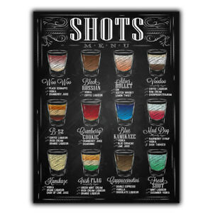 METAL SIGN PLAQUE SHOTS MENU RECIPES print Bar Cafe Kitchen Restaurant cocktails