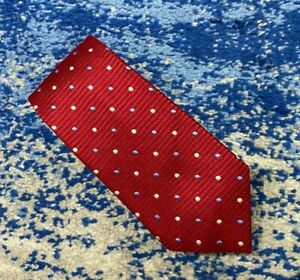 Countess Mara Deep Red Blue Silver Tonal Polka Dots Handmade Silk Necktie
