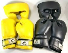 Vintage Boxing Gloves w Headgear 2 Sets Dan EA USA Set Yellow Black Adult SZ 16