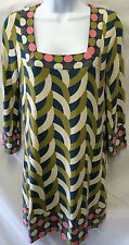 BODEN Mini Dress Tunic Geometric Polka Dot Square Neck Size 6 US