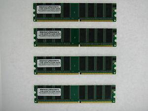 4GB 4x1GB PC3200 DDR400 400MHz Non-ECC 184-pin DIMM Desktop Memory Low Density