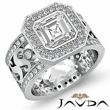 Asscher Cut Diamond Antique Designer Engagement Ring GIA H SI1 Platinum 2.3 ct
