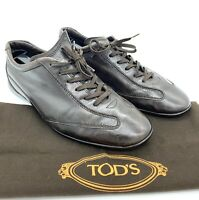 TODs Brown Leather Gommino Driving Moccasins Shoes Sneakers Men Laces 7.5 8.5