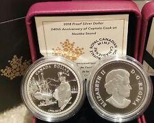 1778-2018 Proof Silver Dollar $1 Canada 240Anniversary Captain Cook Nootka Sound