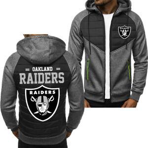 Oakland Raiders Men Fans Hoodie Sporty Jacket Zip up Coat Autumn Sweater Tops