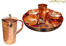 AsiaCraft Indian Pure Copper Dinner Set Thali Plate With Bowl, Jug,Glass & Spoon