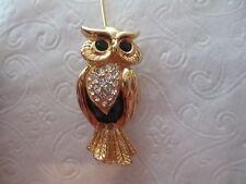 SWAROVSKI Gold-Tone Rhinestone Owl Brooch