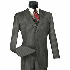 VINCI Men's Gray Banker Stripe 3 Piece 3 Button Classic Fit Suit NEW